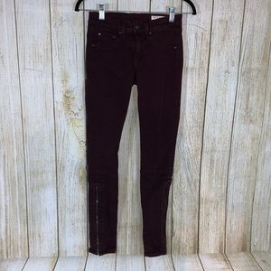 Rag & Bone Skinny Wine Zipper Jeans